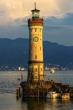 New lighthouse, harbor, Lake Constance, Lindau, Swabia, Bavaria, Germany, Europe