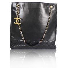Chanel Vintage Black Lambskin Jumbo Shopper Tote Bag