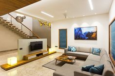 Share this on WhatsApp Residence Design with Straight-lines, Creative and Comfortable Responses Apartment Interior, Bungalow Interiors, House Interior Decor, Room Design, Interior, House Front Design, Indian Home Interior, Living Room Designs, Furniture Design