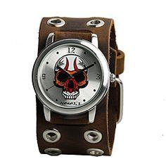 Nemesis Men's Silvertone Skull Watch