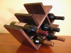 Espresso Stain Gull-Wing Style Deluxe Wine Rack in Solid American Pine. $35.86, via Etsy.