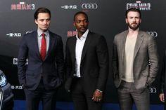 Sebastian Stan, Anthony Mackie and Chris Evans at the 'Civil War' Premiere in Beijing #TeamCap   Pinterest: aloraphernelia