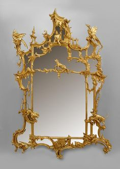 For Sale on - century English Chinese Chippendale style giltwood wall mirror crowned with a pagoda top over a seated figure, birds, hounds and a fox. Michelangelo, Chandeliers, Spiegel Design, Chippendale Chairs, Wood Mirror, Mirror Mirror, English Decor, Railing Design, Chinoiserie Chic