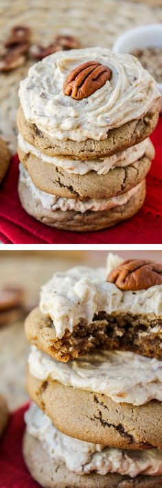 Cookie Recipes - Soft Cinnamon Cookies with Maple Pecan Frosting from The Food Charlatan // Super soft, cinnamon-y cookies topped with the best frosting ever! Maple-cinnamon-pecan were meant to be. Cookie Desserts, Just Desserts, Delicious Desserts, Dessert Recipes, Pecan Desserts, Cinnamon Cookies, Yummy Cookies, Sugar Cookies, Cupcakes