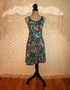 Full Skirt Dress Purple Teal Batik Banana Leaf by MagpieandOtis