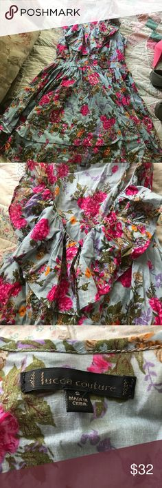 Luca Couture Floral sun dress Beautiful dress that just never wore. Great condition! Dresses Mini
