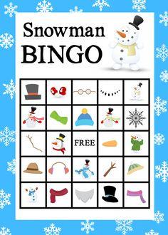 Crazy Little Projects - Making Life Happy Free Printable Snowman Bingo Game Christmas Bingo, Christmas Party Games, Christmas Crafts For Kids, Kids Crafts, Snowman Games, Snowman Party, Printable Cards, Printables, Free Printable