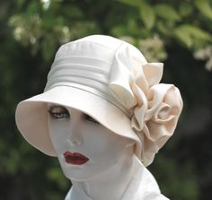 68c5ca21366 Vintage Style Womens Hat 1920 s on Etsy Cloche Ivory Hat Wedding Bridal  Fabric Hats