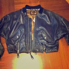 Premium Vintage black leather jacket High quality & in very decent condition. The  unique character of this jacket makes it one of a kind.  Inside collar lining is frayed (see picture) otherwise, excellent condition. foxrun Jackets & Coats