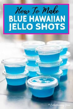 How to Make Blue Hawaiian Jello Shots - Entertaining Diva Recipes @ From House To Home GREAT recipe for Blue Hawaiian jello shots with coconut rum! The pineapple juice, Malibu rum and blue curacao tastes great with the berry blue jello. Malibu Jello Shots, Blue Hawaiian Jello Shots, Easy Jello Shots, Jello Shot Cups, Jello Pudding Shots, Jello Shot Recipes, Alcohol Drink Recipes, Summer Jello Shots, Jello Shots With Rum