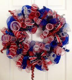 Curly patriotic deco mesh wreath!