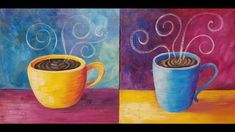 COFFEE Cup Acrylic Painting Tutorial LIVE Easy Beginner Kitchen Art FREE...