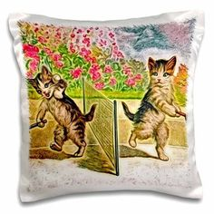 3dRose Sporting Kitties Altered Vintage Postcard Digital Painting by Angelandspot, Pillow Case, 16 by 16-inch