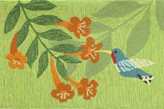 Hummingbird Nectar Green Area Rug