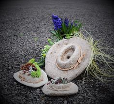 I created this hypertufa collection withthe country lover in mind. Nothing says American Spirit more than a dusty cowboy hat. Any ( want-to-be) farmer or cowgirl, Johny Cash or George Strait fanwould be delighted to have this planter siiting on their front porch! Pair with some succulent filled cowboy boots or milkcan to set the stage!