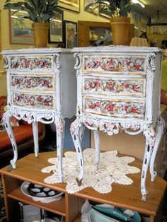 Charming vintage/antique side tables. Hand painted.