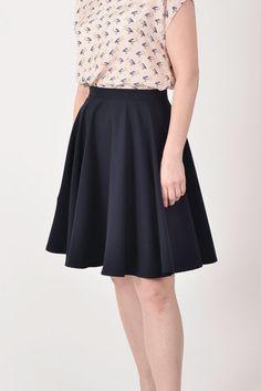 Navy blue circle skirt by Mokkafiveoclock on Etsy