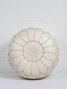 Moroccan Leather Pouffe, Chalk | Bohemia Design Bohemia Design, Moroccan Pouffe, Home Accessories, Fashion Accessories, Hand Stitching, Kids Room, Artisan, Leather, Handmade
