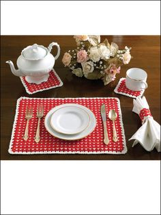 Opposites Attract table set - includes placemat, coaster, trivet, napkin ring. Pattern has tiny little hearts in lattice - super cute.