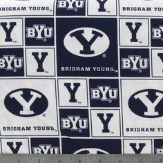 Brigham Young Block Collegiate Cotton Fabric Brigham Young, Fabric Shop, Fabric Online, Cotton Fabric, Sewing, Cards, Couture, Fabric Sewing, Costura