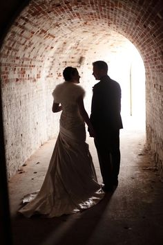 Wedding couple in the tunnels at Upnor Castle Wedding Venues, Wedding Day, Wedding Couples, One Shoulder Wedding Dress, Castle, Wedding Photography, Wedding Dresses, Image, Ideas