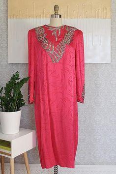 spectacular vintage 1980's dress   pure silk   glistening, beaded leaf design   hot pink color   padded shoulders   back slit label francesca of damon for staring