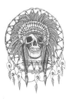 Sweet tattoo idea!!!  Skull Dreamcatcher Native American Indian Art  print 12 by 16 inches. $23.00, via Etsy.