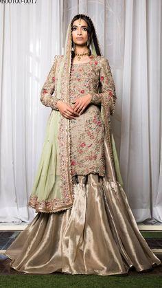 Lehenga choli is unique way, mostly worn at any events. Grab this intriguing art silk green and pink lehenga choli. Pakistani Wedding Dresses, Pakistani Outfits, Indian Dresses, Pakistani Clothing, Eid Dresses, Pink Lehenga, Lengha Dress, Lehenga Blouse, Bridal Lehenga