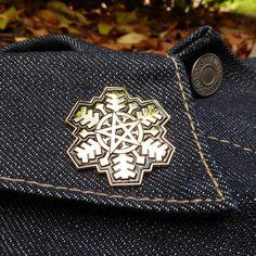 The Pentagram Snowflake Enamel Pin by KeepsakeIllustration on Etsy