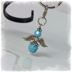 Turquoise Angel Charm  Zipper Pull Pendant Necklace by OurBeadBox, $9.00