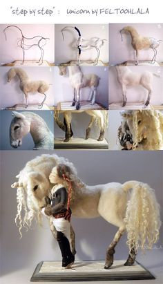 needle felting a Unicorn by FELTOOHLALA