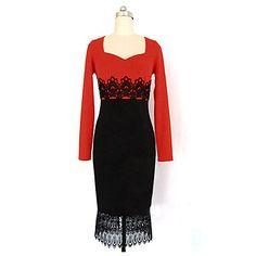 dantelă rochie de culoare de contrast femei Yoki lui – USD $ 19.99