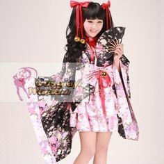 schwarz kawaii sakura japanische Kimono Kostüme   von COSPLAYWORLD_DE Shop für Cosplay Anime Manga auf DaWanda.com
