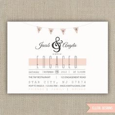 engagement party invite // printed or DIY. $16.00, via Etsy.