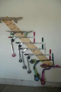Skateboard and scooter storage