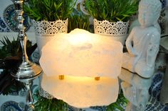 Himalayan Raw White Crystal Salt Lamps All Natural Himalayan Crystal Rock Lamp is an amazing addition to your home or office. When turned on it gives off an ama