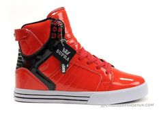 Supra Skytop High Tops Red Black Shoes