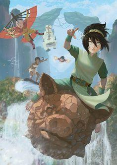 Avatar by chenousang. Toph and Katara Avatar Aang, Avatar Airbender, Avatar Legend Of Aang, Team Avatar, Legend Of Korra, Avatar Cartoon, Avatar Fan Art, The Last Avatar, Avatar World