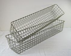 Vintage Wire Baskets Set/2 Rectangular By LavenderGardenCottag