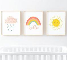 Sunshine Rainbow Cloud Nursery Art Set Set of 3 Digital Art Prints 810 instan Boho Nursery, Nursery Neutral, Nursery Prints, Nursery Wall Art, Girl Nursery, Neutral Art, Baby Room Art, Kids Room Art, Bebe Love