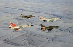 F-84 Thunderjet, F-101 Voodoo, F-100 Super Sabre, F-102 Delta Dagger.
