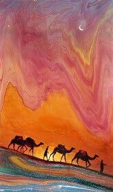Desert Painting on ebru by Garip Ay