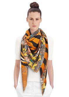 "2015 FW   Tyger Tyger   Cashmere and silk shawl, 55"" x 55"" (70% cashmere, 30% silk)   Alice Shirley   Ref: 242958S 07 Miel/Brun/Jaune   US$1,100"