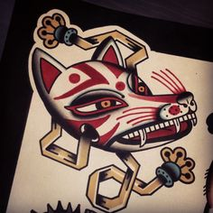 bailey-sacred-electric: kitsune mask. Available as tattoo. sacredelectrictattoo@gmail.com Shaun Bailey