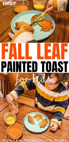 Fall Leaf Painted Toast   Modern Homestead Mama Fun Fall Activities, Craft Activities, Play Based Learning, Learning Through Play, Natural Crafts, How To Start Homeschooling, Facts For Kids, Autumn Crafts, Gentle Parenting