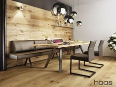 Seating with solid wood table- Sitzgruppe mit Massivholztisch Seating with solid wood table - Square Kitchen Tables, Rustic Kitchen Tables, Kitchen Seating, Modern Dining Table, Dining Sofa, Dining Room Furniture, Furniture Design, Wood Furniture, Dining Table Lighting