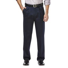 Men's Haggar Premium No Iron Khaki Stretch Classic-Fit Pleated Pants, Size: 36X34, Dark Blue