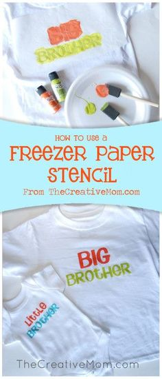 Tutorial for diy screen printing. Make your own shirts with fabric paint and freezer paper stencil. DIY Big brother and sister shirts. Make your own shirts. Baby Crafts, Fun Crafts, Diy Projects To Try, Sewing Projects, Freezer Paper Stenciling, Freezer Paper Crafts, Freezer Paper Shirt, Freezer Paper Transfers, Diy Screen Printing