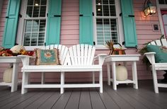 """The pink siding for the """"Get Pink with Sentara"""" home was approved by East Beach's architectural board. The house is highlighted with turquoise shutters. (Steve Earley 