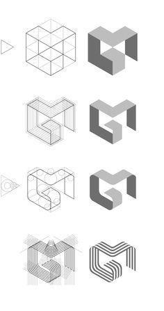 MG logo design construction process.